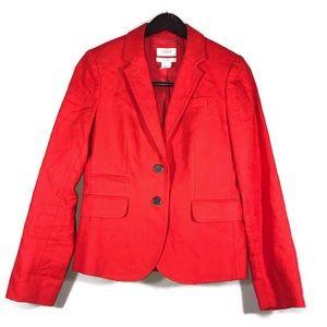 J. Crew Schoolboy Blazer Size 2 Orange Linen